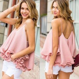 🎉🎉HP!!🎉🎉MELROSE TULIP Dusty Pink Ruffle Top